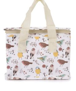 Žluto-bílá taška na jídlo s potiskem ptáčků Sass & Belle British birds
