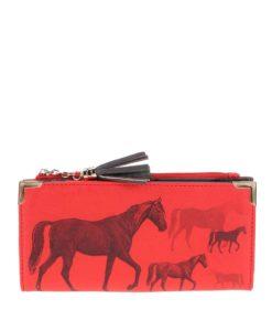 Červená peněženka s potiskem koní Disaster Heritage and Harlequin