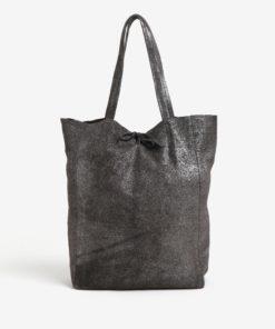 Tmavě šedý třpytivý kožený shopper ZOOT Glitter