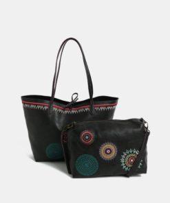 Černý oboustranný shopper s pouzdrem Desigual Siara