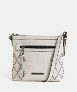 Krémová crossbody kabelka s ozdobnými cvočky Gionni