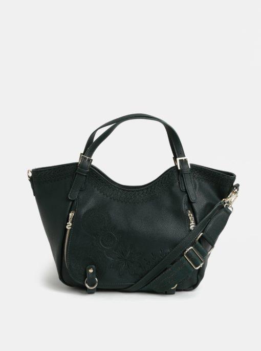 Tmavě zelená kabelka s výšivkou Desigual Amber