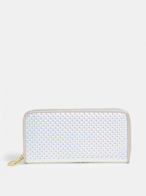 Velká lesklá peněženka ve stříbrné barvě s plastickým vzorem Anna Smith