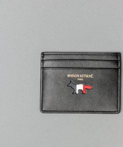 MAISON KITSUNÉ Tricolour Leather Card Holder Black Univerzální velikost