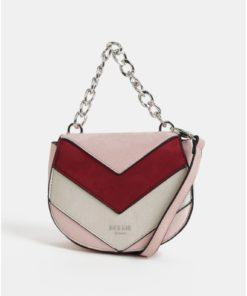 Vínovo-růžová crossbody kabelka v semišové úpravě Bessie London