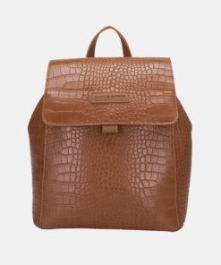 Hnědý batoh s krokodýlím vzorem Claudia Canova Beth